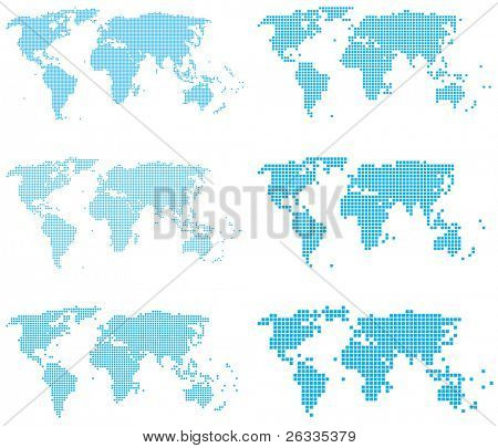Set of dotted (6 sizes, square dots) world maps .Raster.
