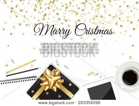 Work Place. Christmas Card. Vector Illustration. Working Place In Office.