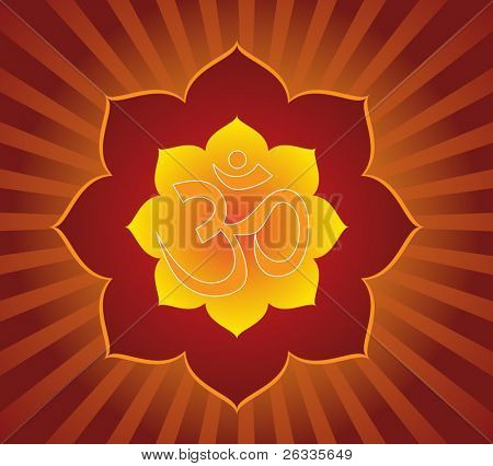 Aum (om) symbol in lotus mandala. Vector.