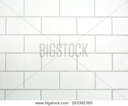 White mat tiles on a wall with grey cement