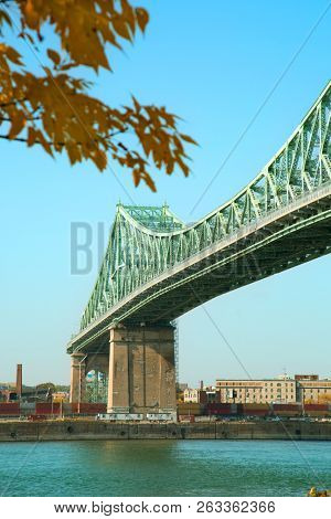 View of Jacques Cartier Bridge in Montreal in Quebec province in Canada