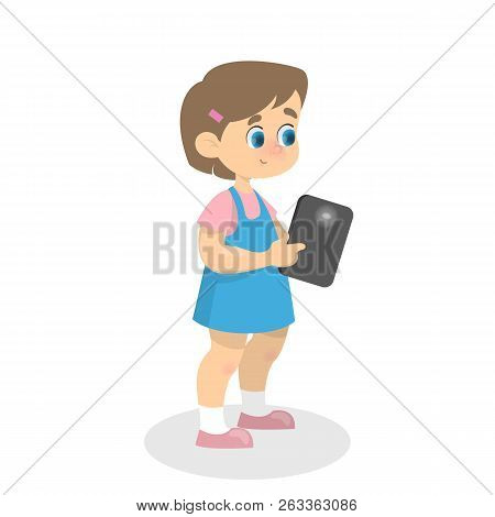 Little Kid Playing With A Mobile Phone