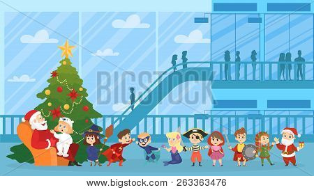 Child Sitting With Santa Claus In Red Clothes