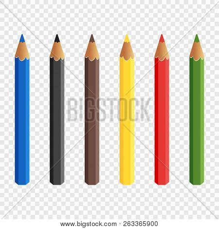 Six Colored Pencils Isolated On Transparent Background. Pencils Draw. Baby Colorful Colored Pencils.