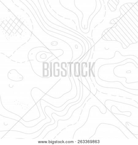 Vector Illustration Of Topographic Orienteering Map With Text Place. Topo Symbols And Landmark Objec