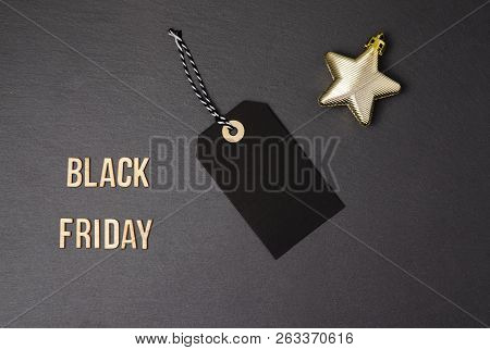 Black Background And Black Price Label.  Black Friday. Sales Concept. Copy Space.  Black Paper Label