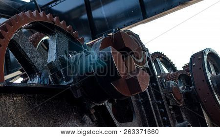 Rusty Worn Machinery Cog Gears And Sprockets
