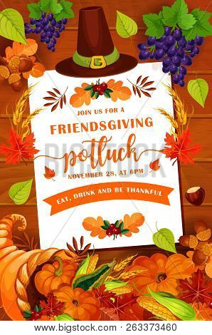 Friendsgiving Thanksgiving Day Holiday Autumn Leaves And Pumpkin On Wooden Background. Potluck Dinne