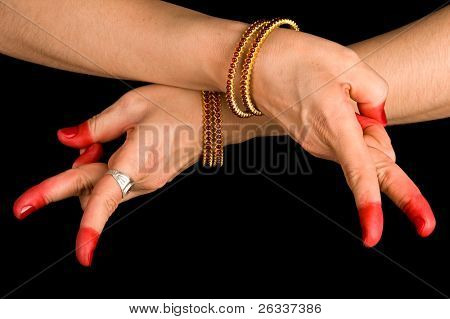 Woman hand showing Kartariswatika hasta of indian classic dance Bharata Natyam