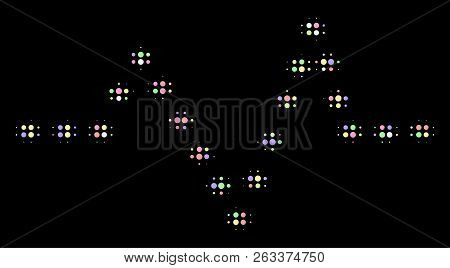Dotted Pulse Composition Of Round Dots In Soft Color Tinges On A Black Background. Vector Round Elem