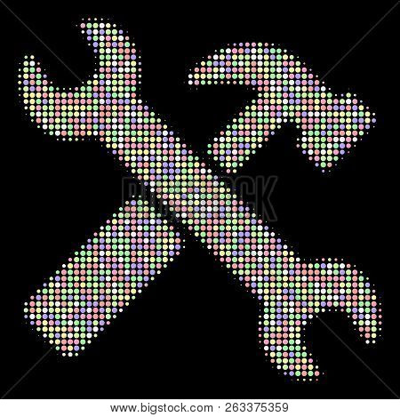 Hammer And Wrench Mosaic Of Filled Circles In Soft Color Tones On A Black Background. Vector Filled