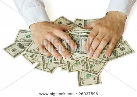 Greedy hands grabbing heap of money US  dollars
