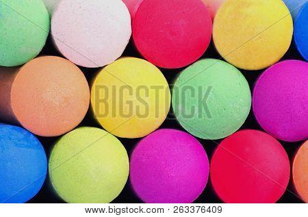 Colored Sticks Of Sidewalk Chalk For Drawing On Pavement, Concrete Or Asphalt Sidewalks.