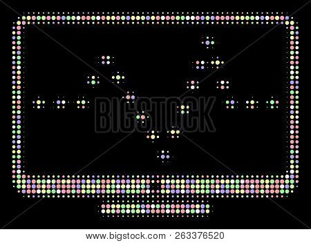 Monitor Dotted Pulse Mosaic Of Filled Circles In Bright Shades On A Black Background. Vector Filled