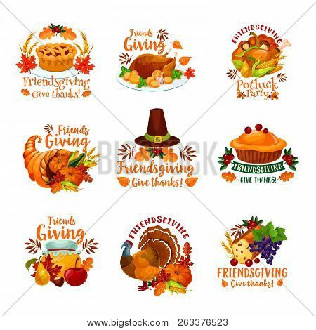 Thanksgiving Day And Friendsgiving Potluck Dinner Icons With Autumn Holiday Meal. Vector Roasted Tur