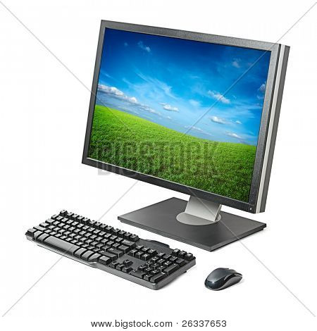 PC computer (lcd monitor screen, keyboard, mouse) isolated