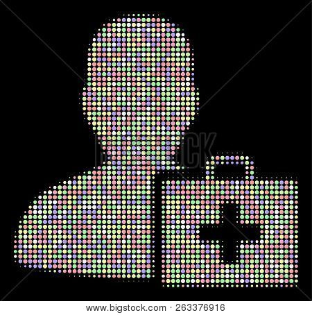 Paramedic collage of round dots in soft color tones on a black background. Vector filled circles are combined into halftone paramedic collage. Soft design concept. poster