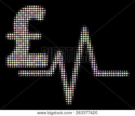 Pound Pulse Mosaic Of Round Dots In Bright Color Hues On A Black Background. Vector Round Dots Are C