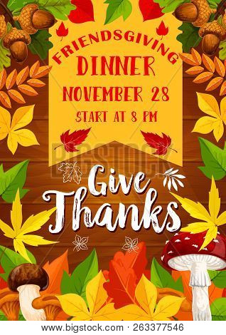 Thanksgiving Friendsgiving Potluck Dinner Vector Poster. Autumnal Leaves On Wooden Background, Orang