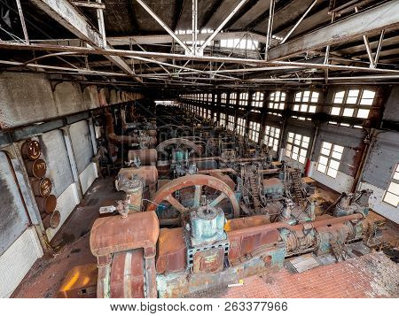 Steel Factory In Bethlehem Pa As It Rusts, And Discolors With Age
