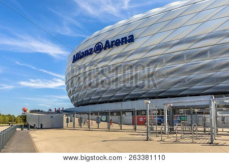 Munich, Germany - 14 August 2017: Entrance To Allianz Arena Stadium Munich, Germany. The Allianz Are