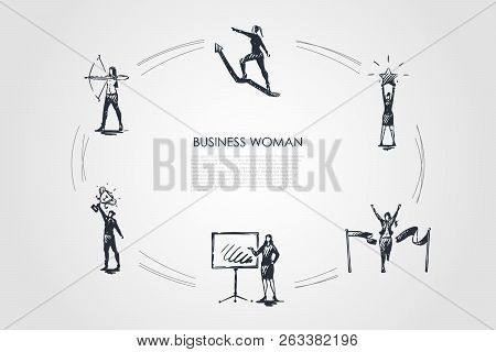 Business Woman - Women With Star In Hands, Archery, With Trophy, Crossing Finish, Climbing On Arrow