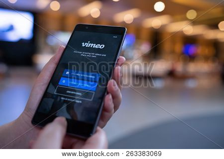 Chiang Mai, Thailand - August 03,2018: Woman Holding Huawei With Vimeo On Screen.  Vimeo Is A Video-