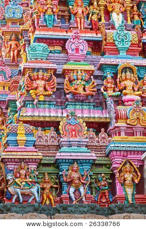 Sculptures on Hindu temple gopura (tower). Menakshi Temple, Madurai, Tamil Nadu, India poster