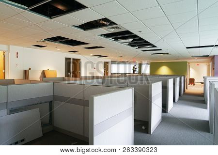Construction Site Of Office Cubicle Installation And Renovation