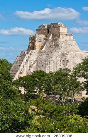 Anicent mayan pyramid (Pyramid of the Magician, Adivino  ) in Uxmal, Merida, Yucatan, Mexico