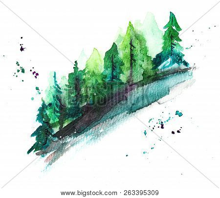 A Watercolor Drawing Of A Forest, An Abstract Landscape On A White Background With Copyspace