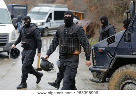 Sofia, Bulgaria - 4 January 2018: Special Law Enforcement Unit. Special Police Force Units In Unifor