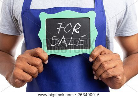 Close-up Of For Sale Text Written On Chalkboard As Store Owner Is Selling Business Isolated On White