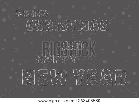 Merry Christmas And Happy New Year Celebration Card, Sketch