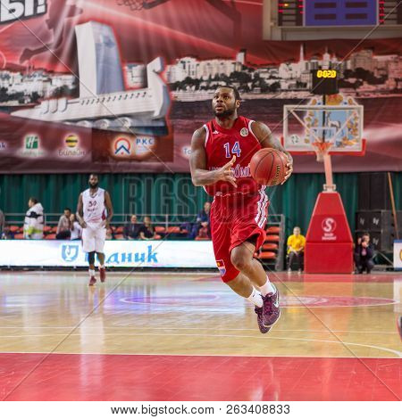 Samara, Russia - December 17: Bc Atomeromu Guard Deonta Vaughn #14, With Ball, Is On The Attack Duri