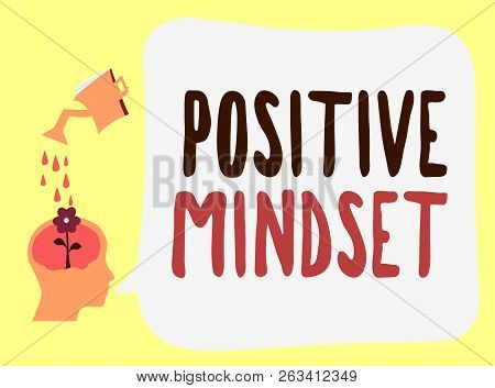 Handwriting Text Positive Mindset. Concept Meaning Mental And Emotional Attitude That Focuses On Bri