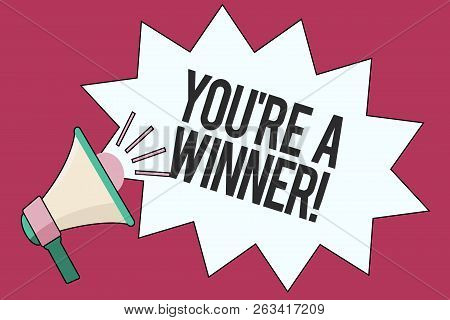 Text Sign Showing You Re Are A Winner. Conceptual Photo Winning As 1st Place Or The Champion In A Co