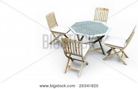 Chair set on white floor.