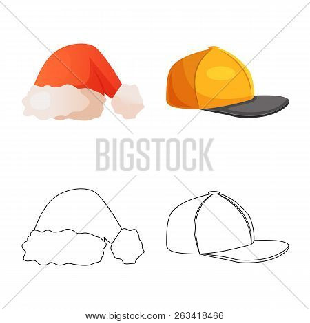 Isolated Object Of Headgear And Cap Symbol. Collection Of Headgear And Accessory Stock Symbol For We