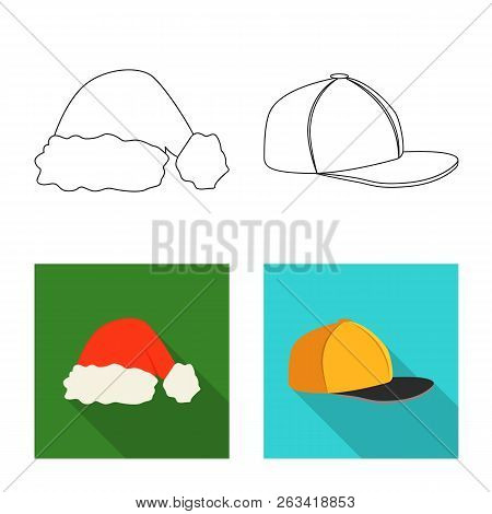 Vector Illustration Of Headgear And Cap Sign. Collection Of Headgear And Accessory Vector Icon For S