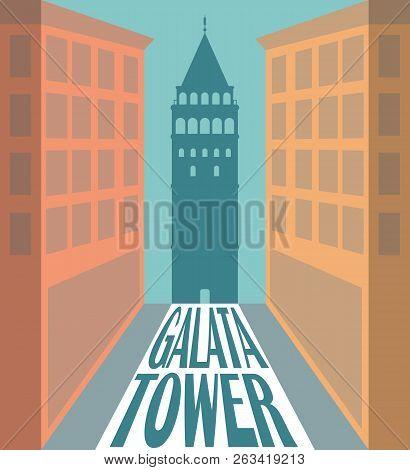 Galata Tower Silhouette, Istanbul Turkey. Vector Illustration Design.