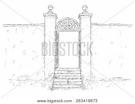 Vector Artistic Pen And Ink Drawing Illustration Of Simple Decorated Chateau Park Garden Gate With S