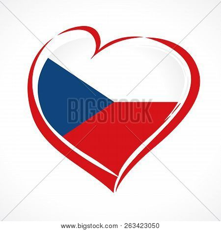 Love Czech Republic, Heart Emblem In National Flag Colored. Flag Of Czechia With Heart Shape For Ind