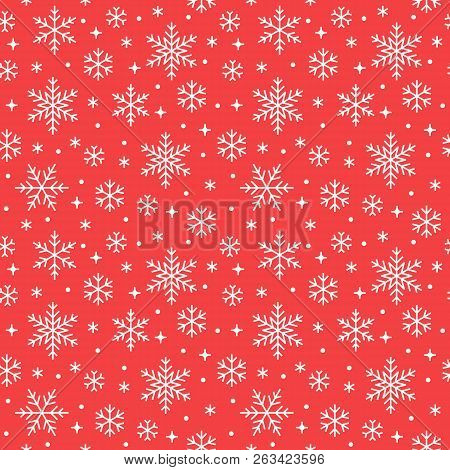 Seamless Pattern With White Snowflakes On Red Background. Flat Line Snowing Icons, Cute Snow Flakes