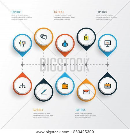 Business Icons Colored Line Set With Introducing, Email, Cash And Other Pie Chart Elements. Isolated