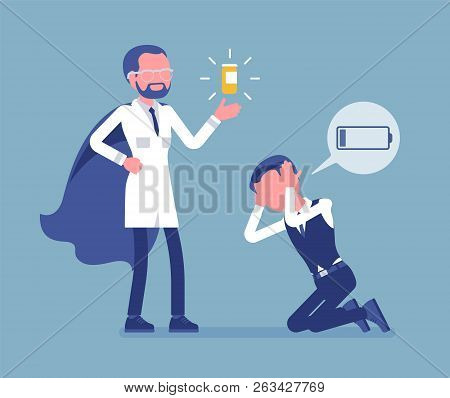 Doping For Male Clerk. Office Worker Exhausted With Routine, Worn Out, Weary, At Power Limit, Zero P