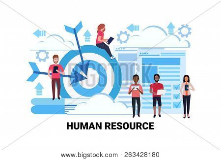 Mix Race Business People Group Team Human Resource Concept Goal Targeting Successful Teamwork Concep