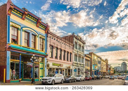 Victoria,canada - July 5,2018 - Evening In The Streets Of Victoria City. Victoria Is The Capital Of