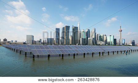 Shanghai Skyline With Solar Power Plant