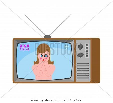 Xxx News Old Tv. Adult Channel. Woman Broadcasting Journalist. Female Anchorman In Tv Studio. Live B